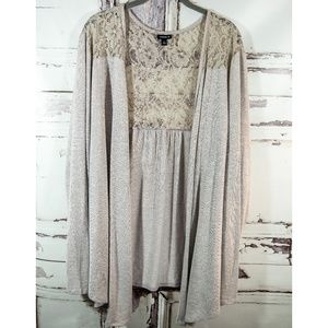 Torrid 4 4X Taupe Lace Open Cardigan Sweater